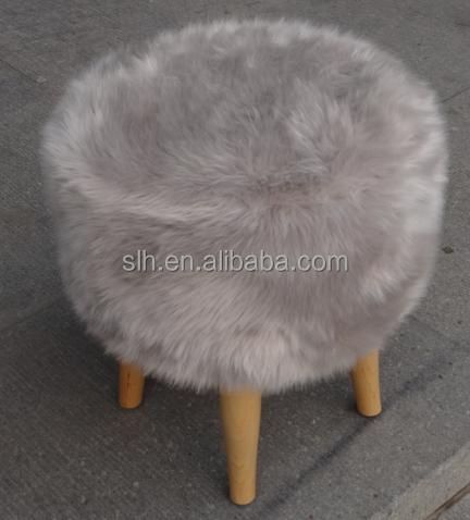 Nouveau design rond en fausse fourrure couverture pouf avec bois repose pieds - Tabouret fausse fourrure ...