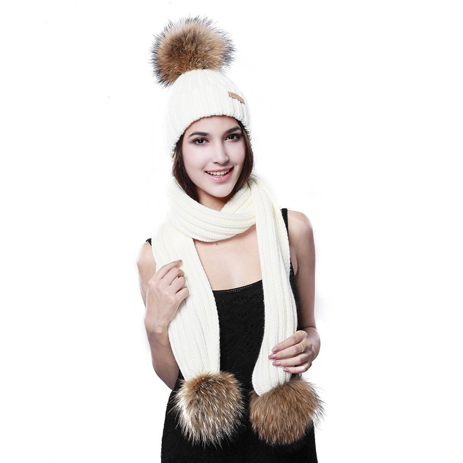 bcb55c2f50964 Get Quotations · FURTALK Winter Knitted Hat and Scarf Set Detachable Large Raccoon  Fur Pom Pom Hat&Scarf