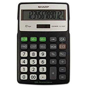 """Sharp - El-R287bbk Recycled Series Calculator W/Kickstand 12-Digit Lcd """"Product Category: Office Machines/Calculators & Counters"""""""