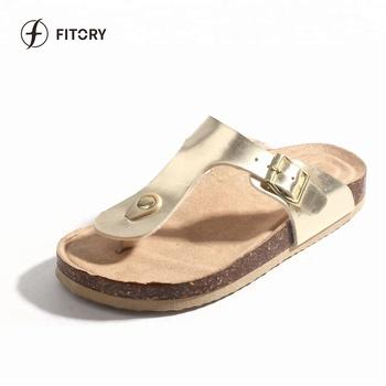 8b1740e5ec56 Fitory Sparking Strap Women s Flip Flops Cork Sole Sandals For Women ...