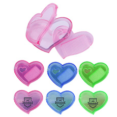 Transparent pink color pocket mini size multi-function novelty design folding plastic case build-in heart shaped mirror comb