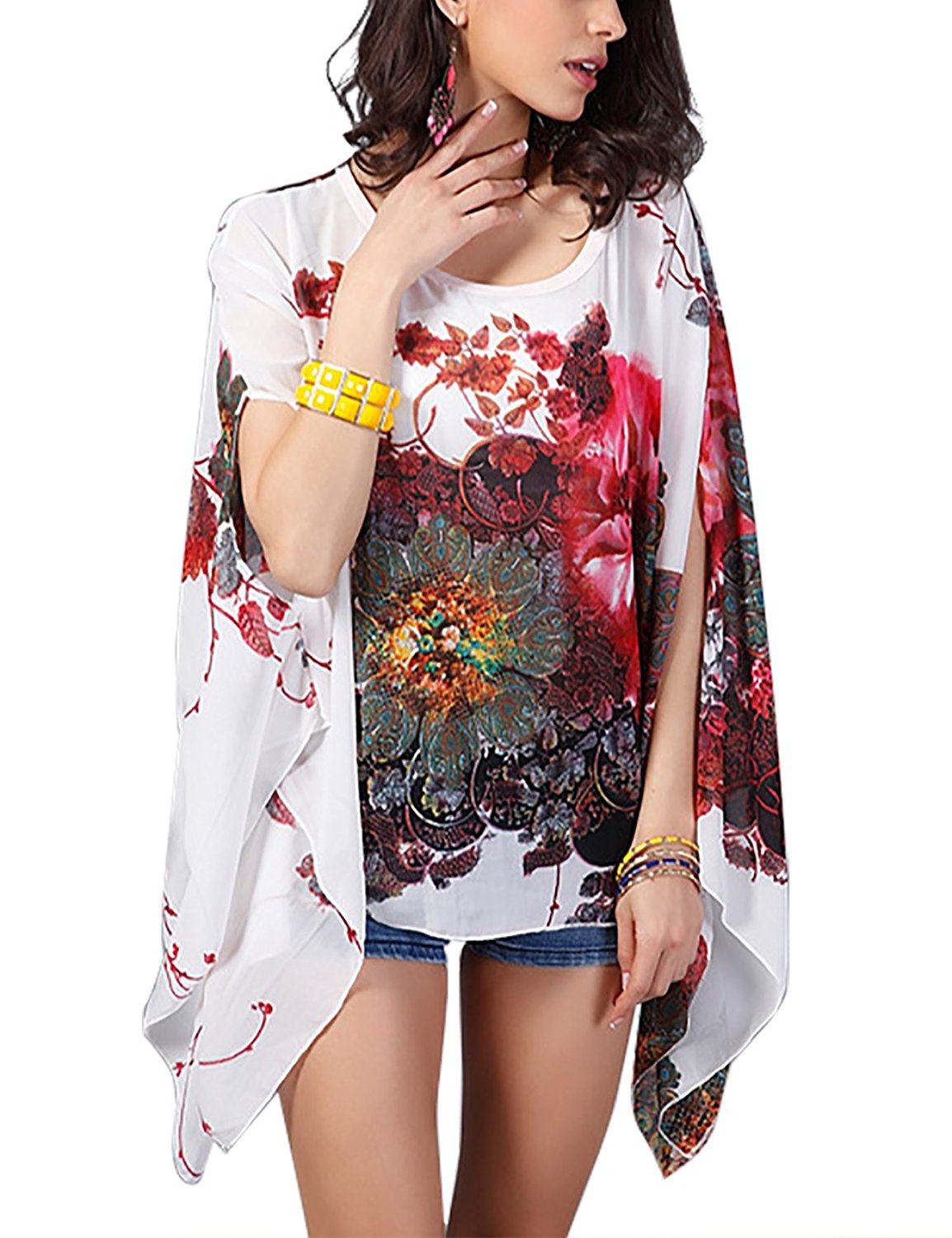 0dc18d1a56 Get Quotations · DJT FASHION Womens Floral Chiffon Caftan Beach Loose  Blouse Tunic Tops