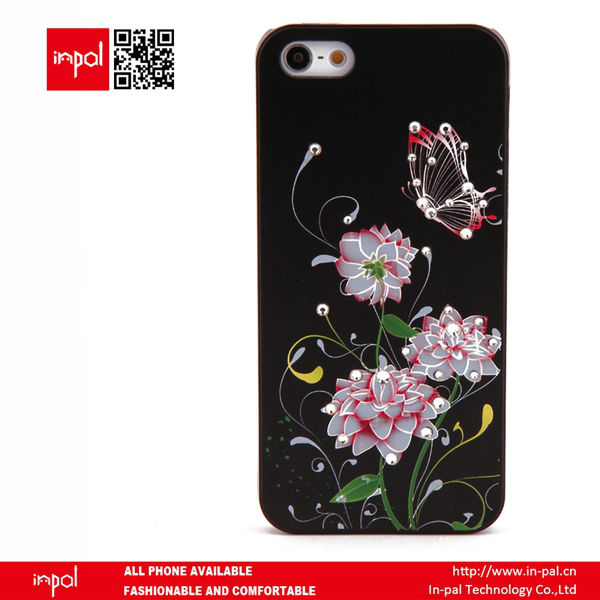 Unique floral black style crystal diamond bling faceplates for iphone 5 at wholesale price