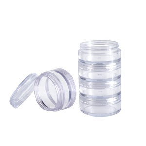 Wholesale cosmetic package Small diamond container five layer clear PET plastic jar
