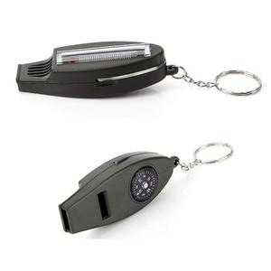 4 in 1 multifunctional Compass Key chain Compass / Whistle / Magnifying glass / Thermometer