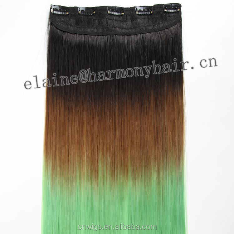 HOT SALE ( Black/coffee brown/green ) 20inch 5 clips Cheap synthetic easy clip in colored highlight hair extensions