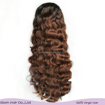 Glam Hair Products Ombre Hair Color Lace Front Wig Long Virgin