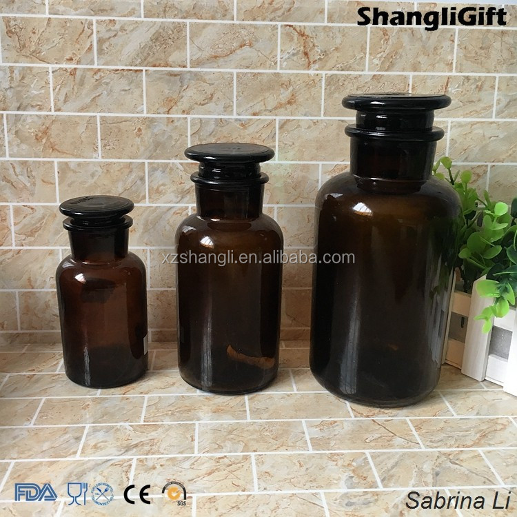 250ml 500ml 1000ml amber reagent glass bottle and glass cap