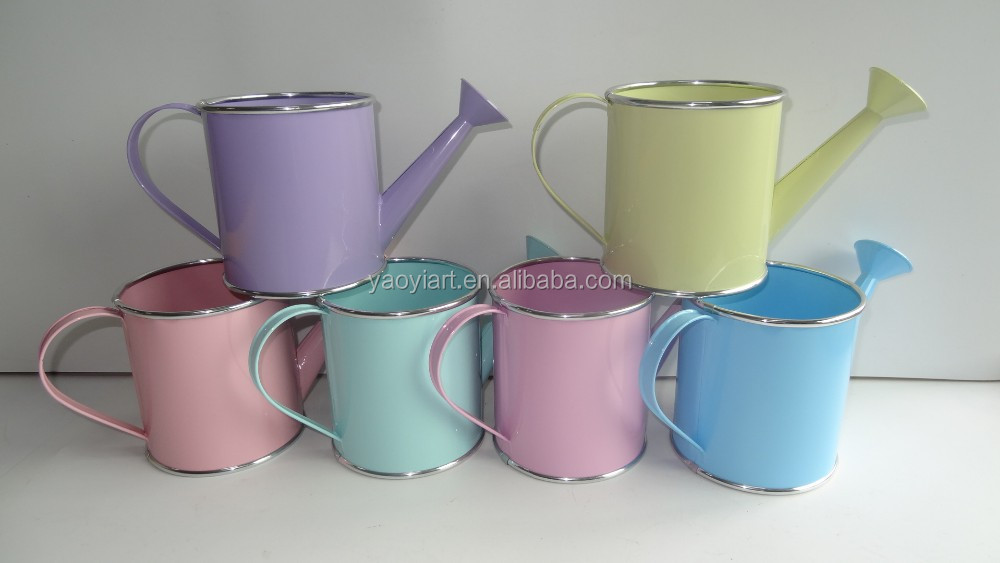 bright color newest metal garden watering can flower pot