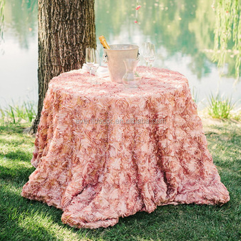 Wedding Decorative Table Cloth , Round Rosette Table Cloth For Center Table