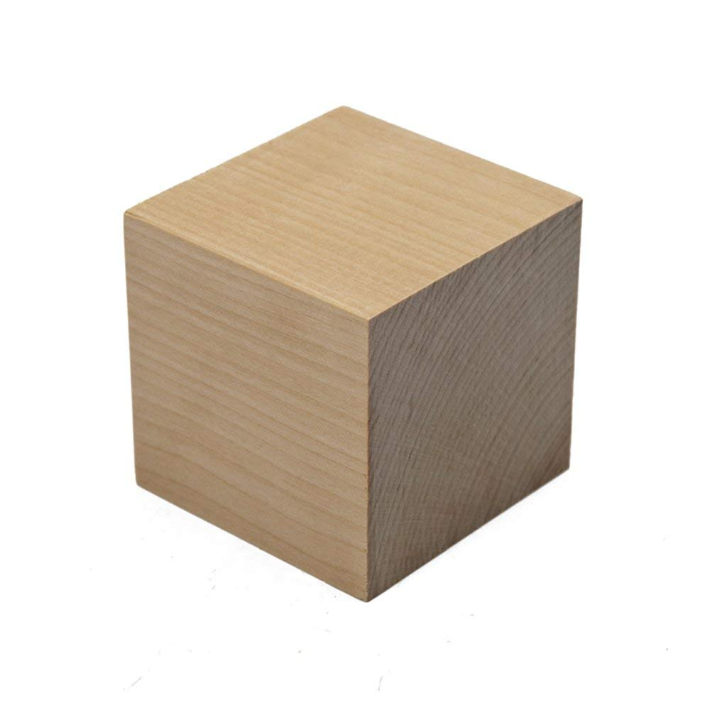 60pcs Supla 60pcs 1 inch Natural Unfinished Craft Solid Wood Blocks Wood Cubes for DIY Craft Gifts