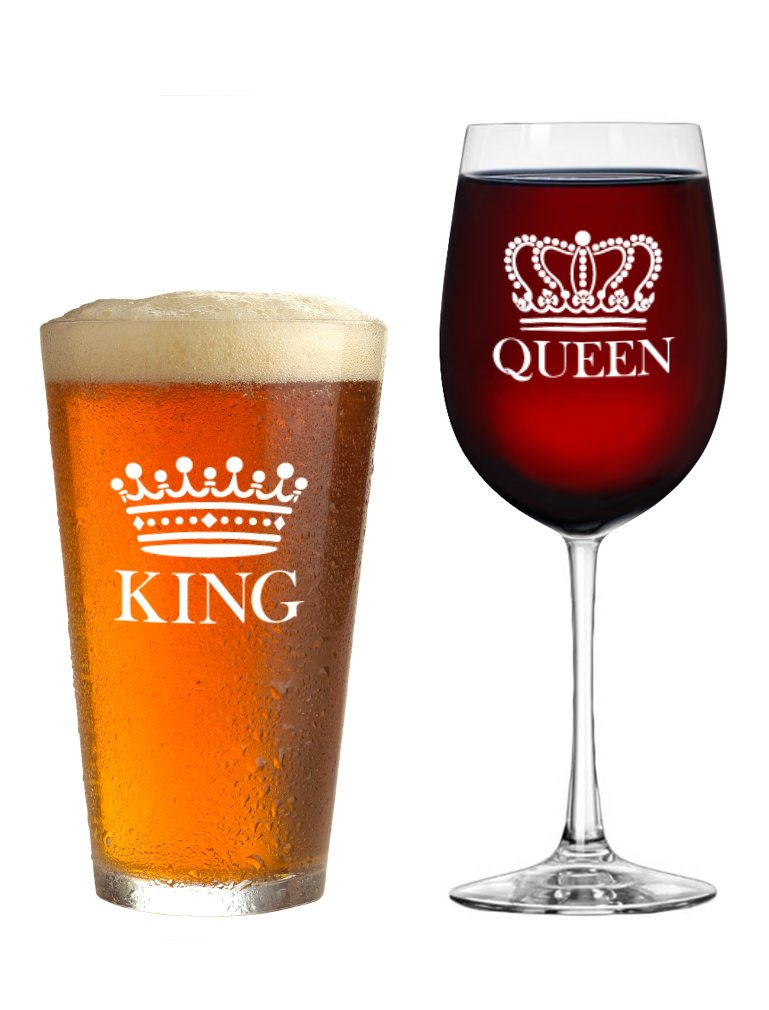 939992cbb Get Quotations · King Beer Queen Wine Glass Set of 2 - Gift for Couples -  Valentine s Day Gift