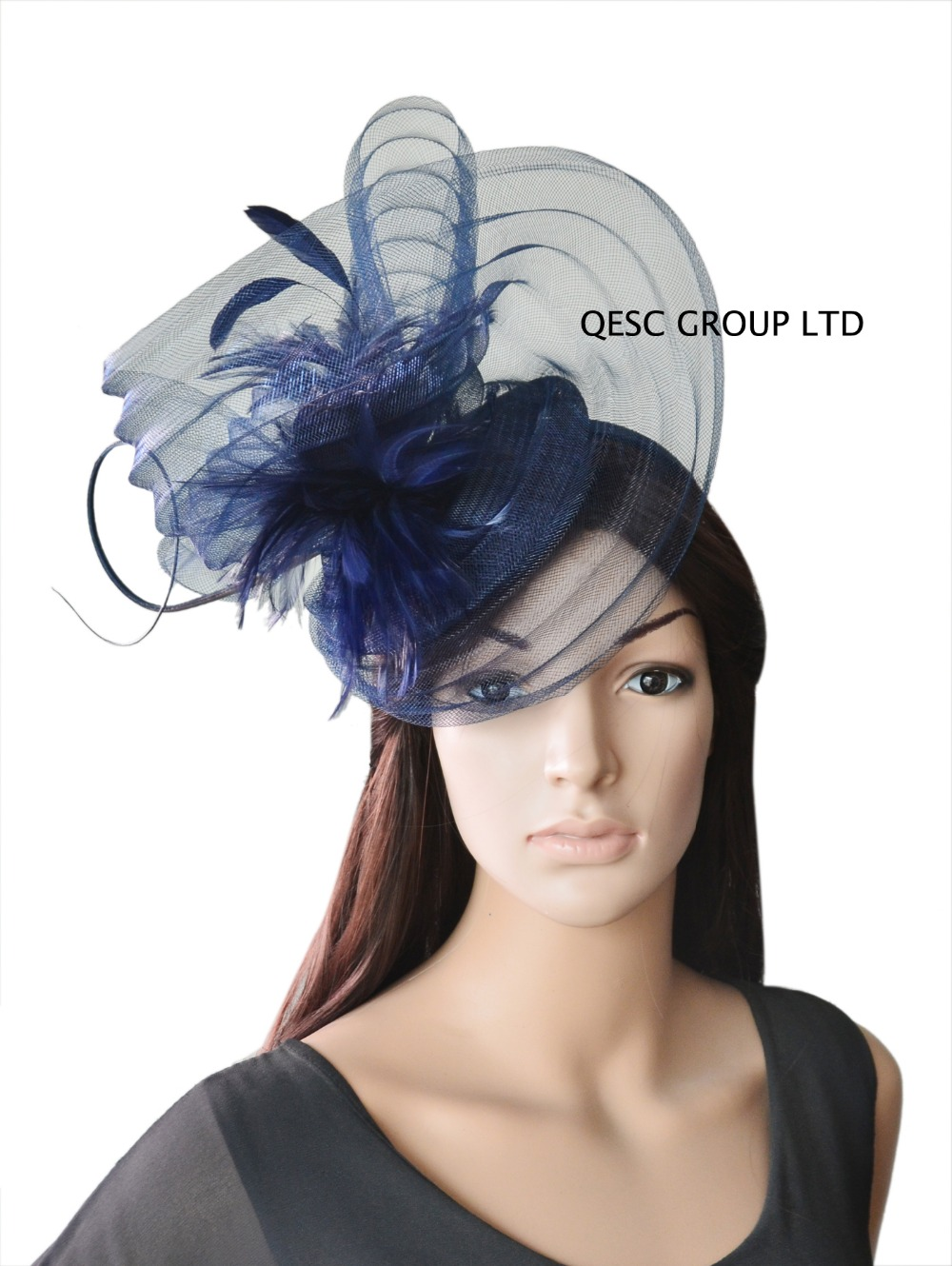 Get Quotations · Navy blue LARGE Sinamay Fascinator feather Fascinator crin  fascinator for Derby Ascot 4ac398f2ad4
