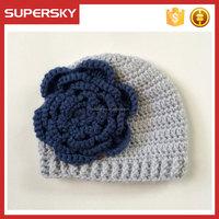 V147 Handmade Crochet Beanie For Baby Girl Flower Girl Hand Knit Hat