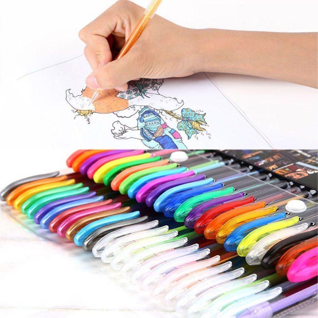 AP Shop, 48 pcs Colors Gel Pen Set, Adult Coloring Book, Ink Pens Drawing Painting Craft Art.