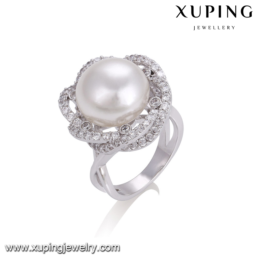14301 Xuping flower cultural pearl ring