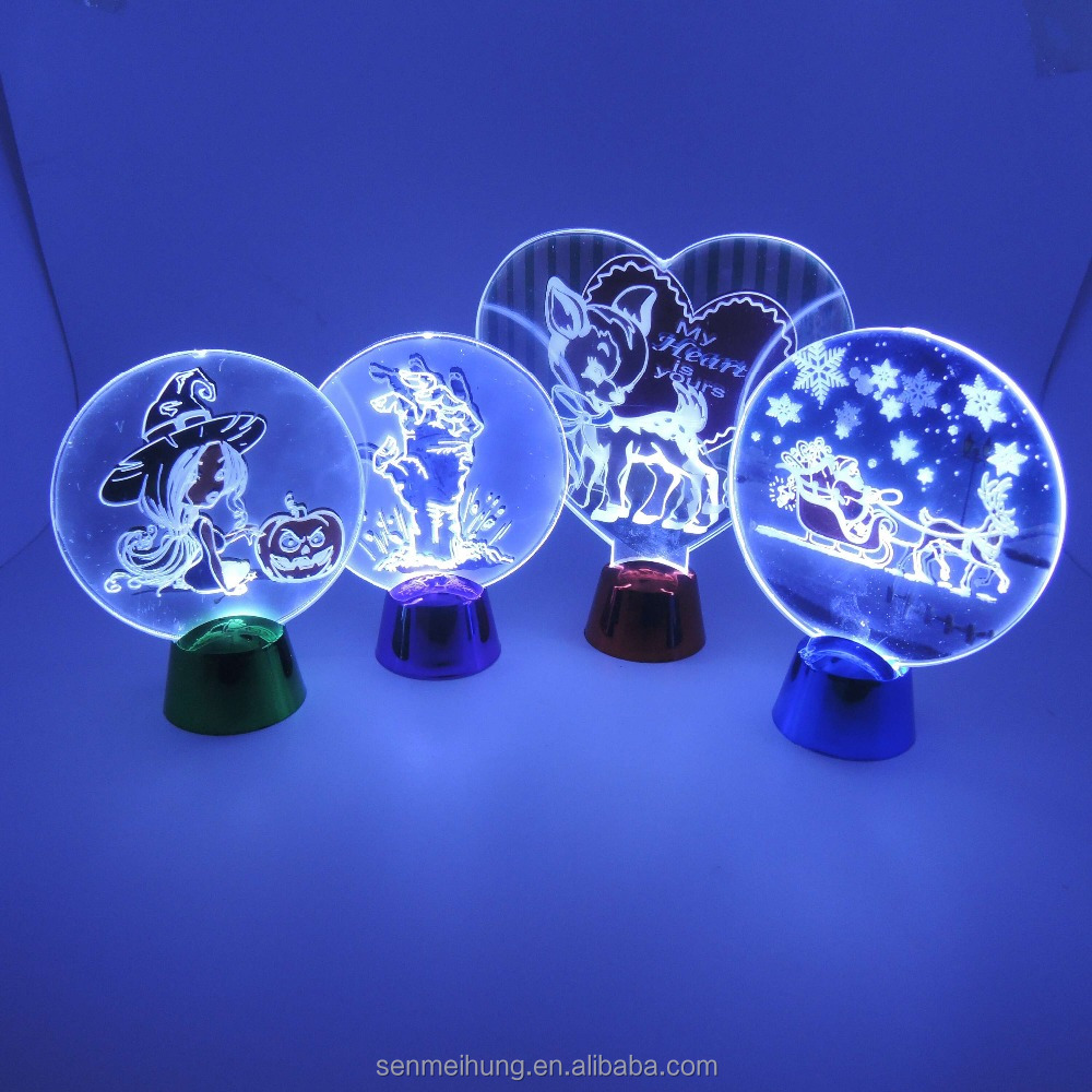 3D dynamic light heart shape Christmas,/valentine's day/ Halloween gifts