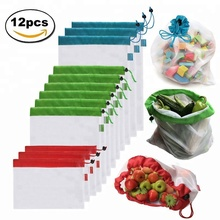 12PCS Reusable Organic Mesh Produce Bags Washable Eco Organic Mesh Produce Bags for Grocery Shopping & Storage, Fruit, Vegetable