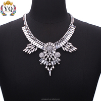 NYQ-00420z fashion crystal accessories jewelry bib silver/gold plated choker necklace for women