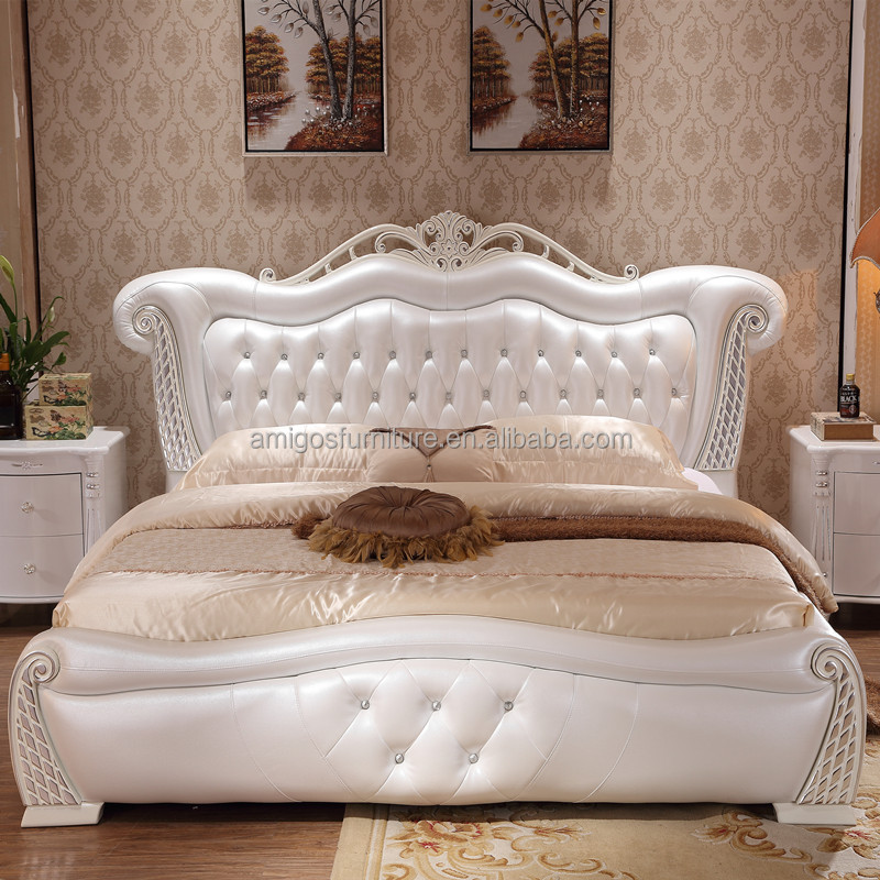 White Leather Diamond Bed, White Leather Diamond Bed Suppliers And  Manufacturers At Alibaba.com
