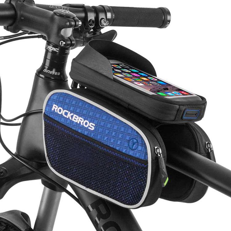 ROCKBROS Road MTB Mountain Bike Frame Bag Rainproof Top Tube Bag Blue