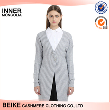 Women cashmere long style grey color cardigan sweater