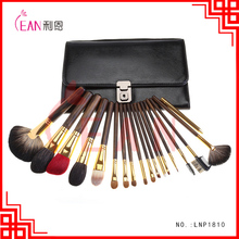 18pcs high quality animal hair wooden handle makeup brushes professional retro cosmetic brushes with leather bag packing