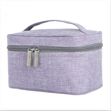 Canvas cotton tote cosmetic bag Durable zipper toiletry bag