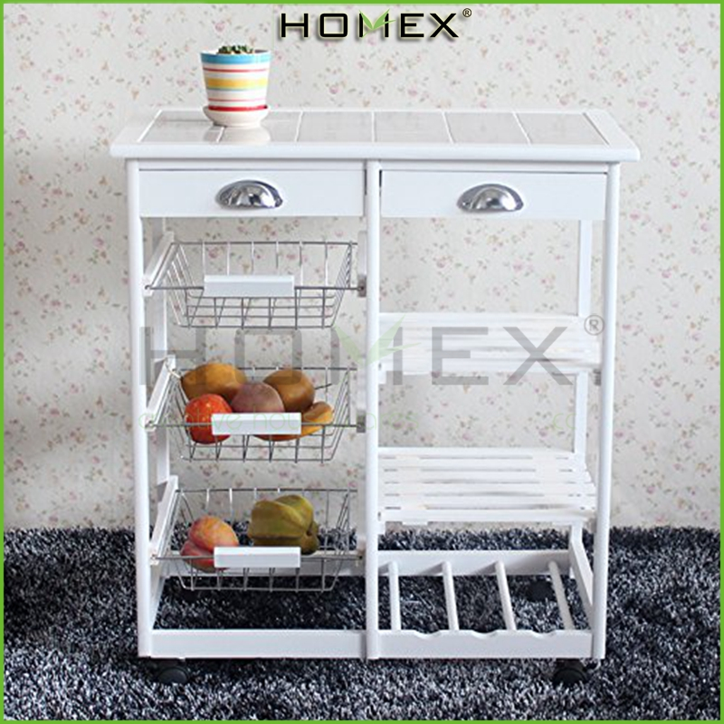 Eco-friendly Bamboo White 4 tier Kitchen Storage Cart Dining/Homex-FDA/BSCI-FSC