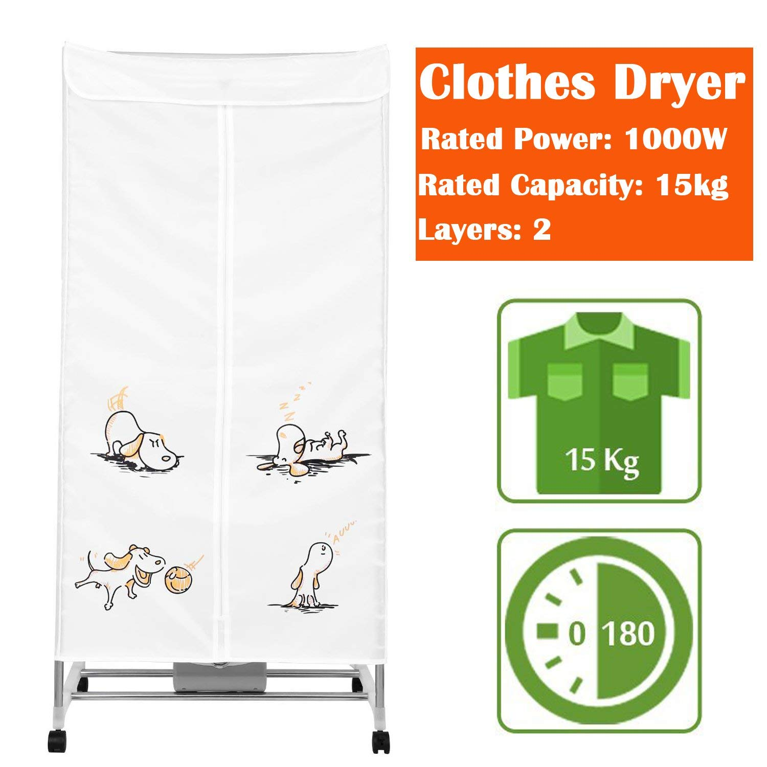 Portable Clothes Dryer, 15KG Compact Electric Clothing Dryer Laundry Drying Rack, Fast Hot Air Dry Wardrobe Machine for Home & Dorms (White)