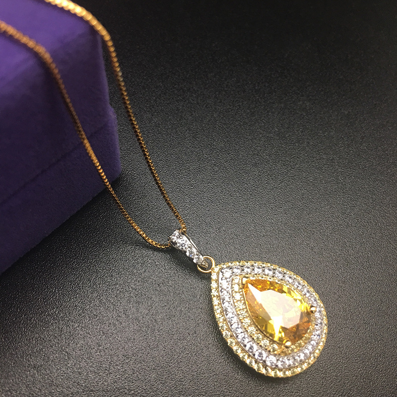 HPY101 Huilin Jewelry 925 Sterling Silver Necklace big diamond drop shaped pendant necklace