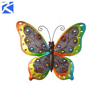 Artificial Outdoor Garden Decorations Butterfly Wholesale Decorative Metal  Wall Art
