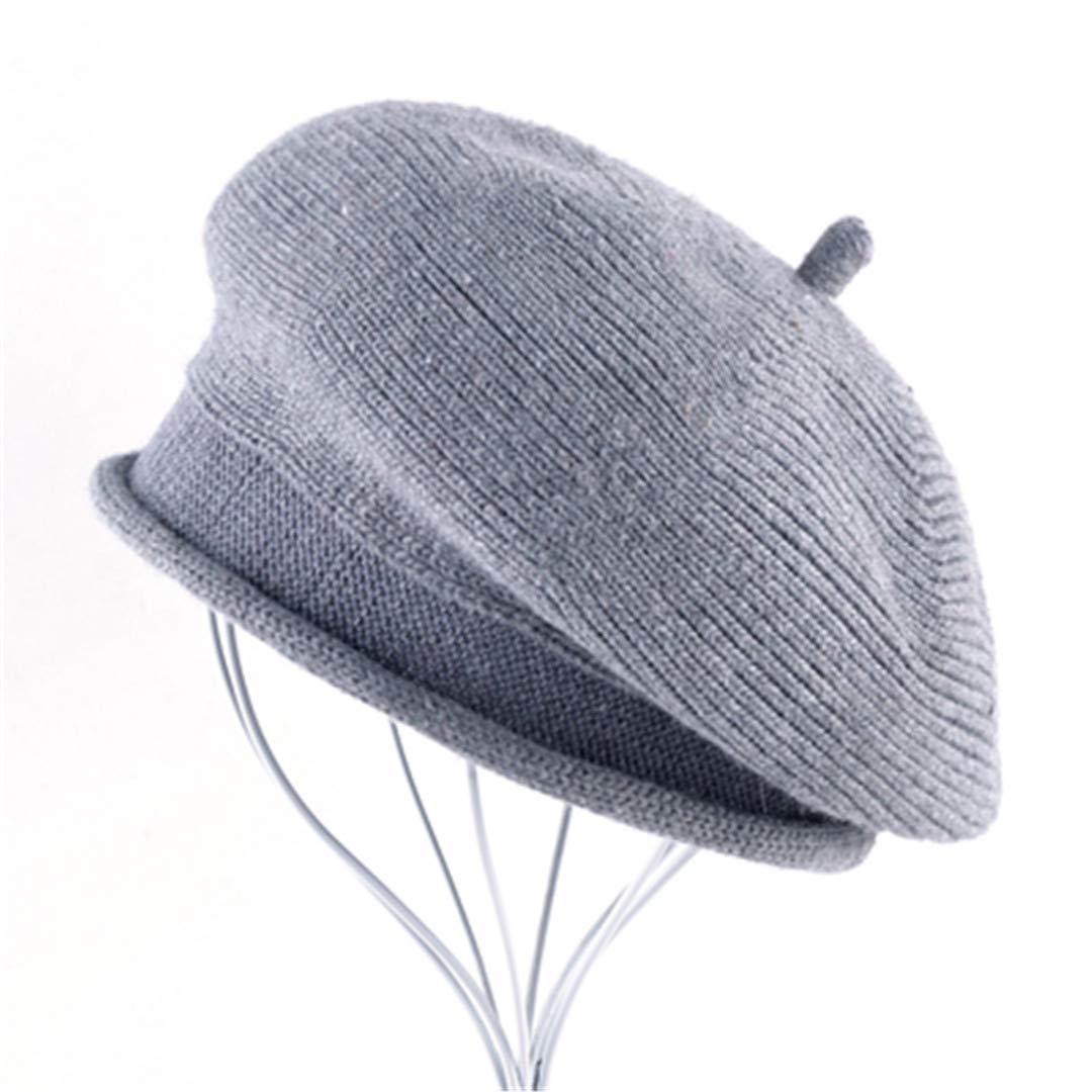 cb73f70e0583f Get Quotations · Wool Blended Fabric Hat Women s Berets Knitted Wool Ladies  Casual Cap Winter Hats for Women