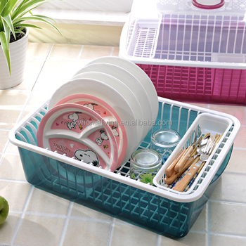 Plastic Kitchen Cabinet Organizer Dish Rack With Cover