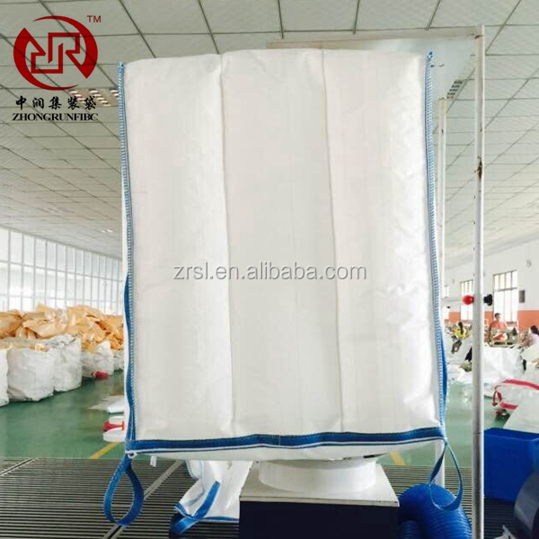 white color top open flat bottom 4 coross coner lifting loops UV stabilized PP woven container bag handan zhongrun