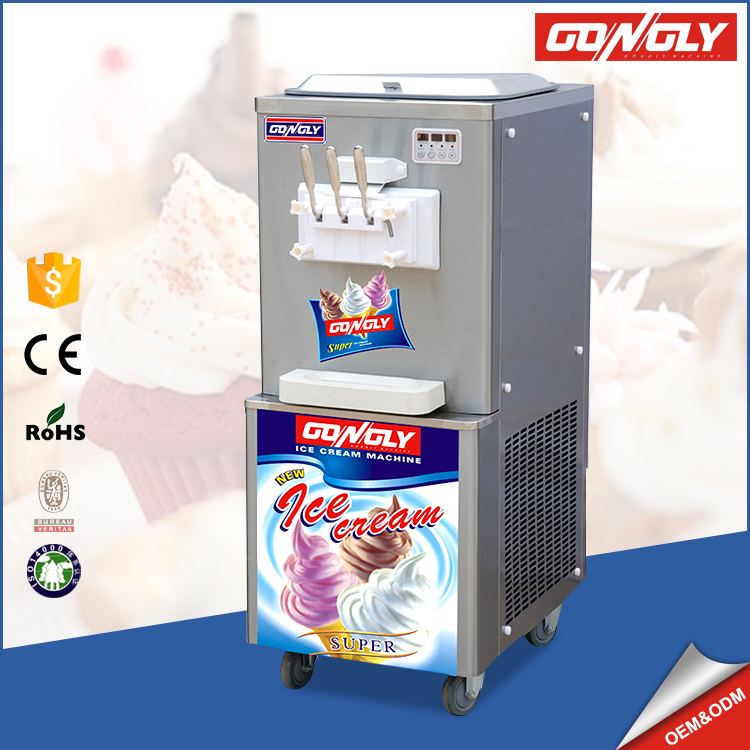 2017 Big Capacity 3 Nozzles Ice Cream Cooling System Soft Serve Frozen Yogurt Machine with factory price
