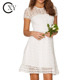 Ladies Elegant Short Sleeve Design White Lace Graduation Dress