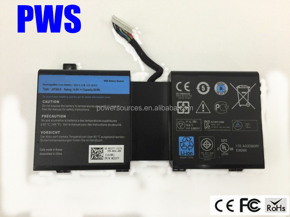 High quality laptop Battery For Dell Alienware M17X M18X 14.8V batery