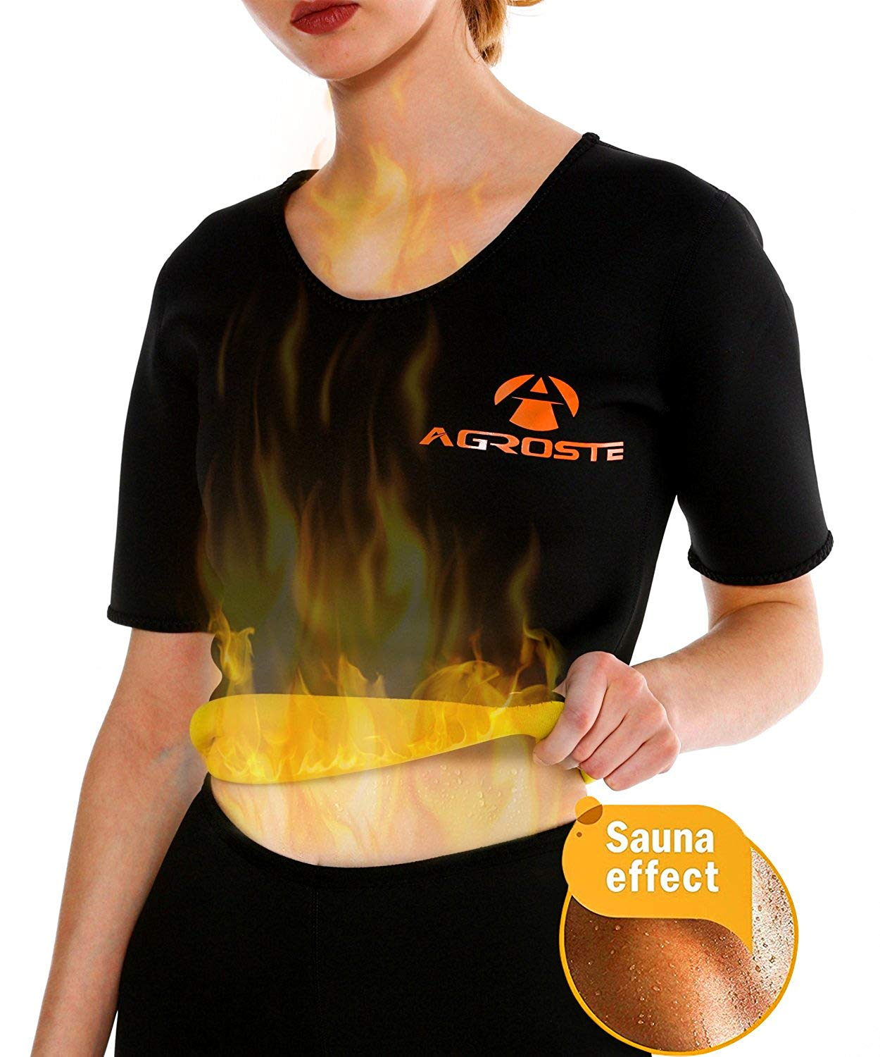 9c95f59f06 AGROSTE Sauna Suit T Shirt Hot Body Neoprene Sweat Weight Loss Shapers  Slimming Shapewear for Women