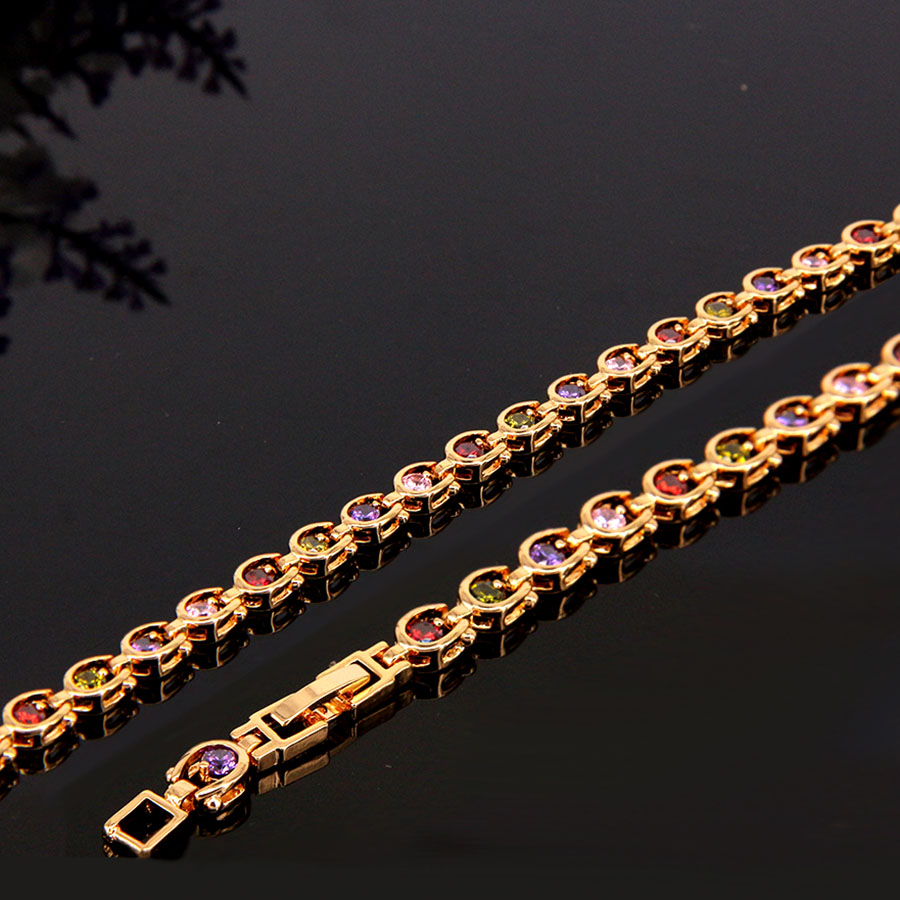 Wholesale Factory Price Women Jewelry Metal Copper Chain Crystal Bracelet