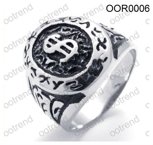 Bling middeleeuwse dollar ring, middeleeuwse ring man staal