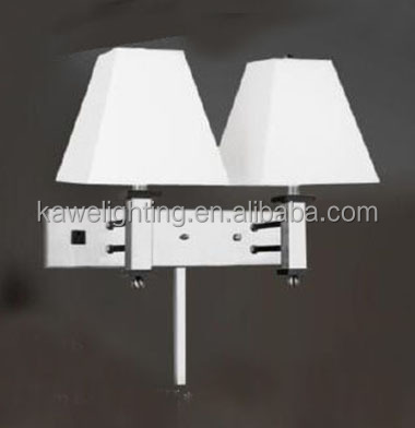 Double Rocker arm Single wall lamp with outlet and USB UL SAA list for USA Canada Australia