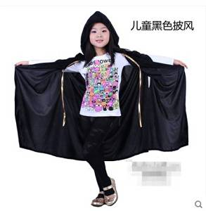 Halloween Adult Children's Cloak Witch Hooded Cosplay Costume Party Show Decorations Masquerade Carnival(children with Black Cloak)