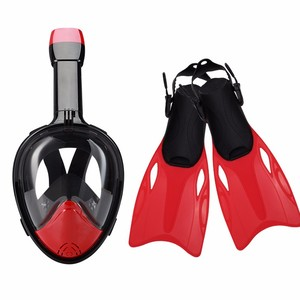 Free breath 180 degree view round visor anti fog snorkel mask full face set with fins