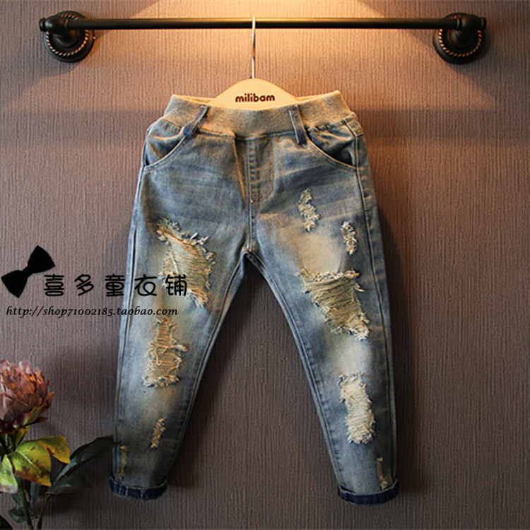 New style Girls jeans kids clothing children jeans Kids jeans Elastic Waist fashion jean children clothing