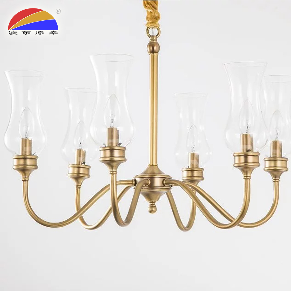 6 head glass pendant light in brass material fit E14 LED bulbs for restaurant