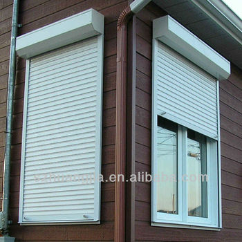 Ce tuv motorized aluminum exterior shutters buy aluminum exterior shutters windproof roller for Roll up window shutters exterior