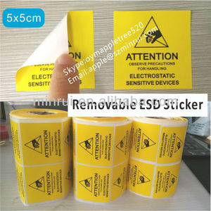 Factory Supply ESD Design Label,Yellow and Black Printed ESD Warning Stickers,Removable Attention ESD Label 1000pcs on Rolls