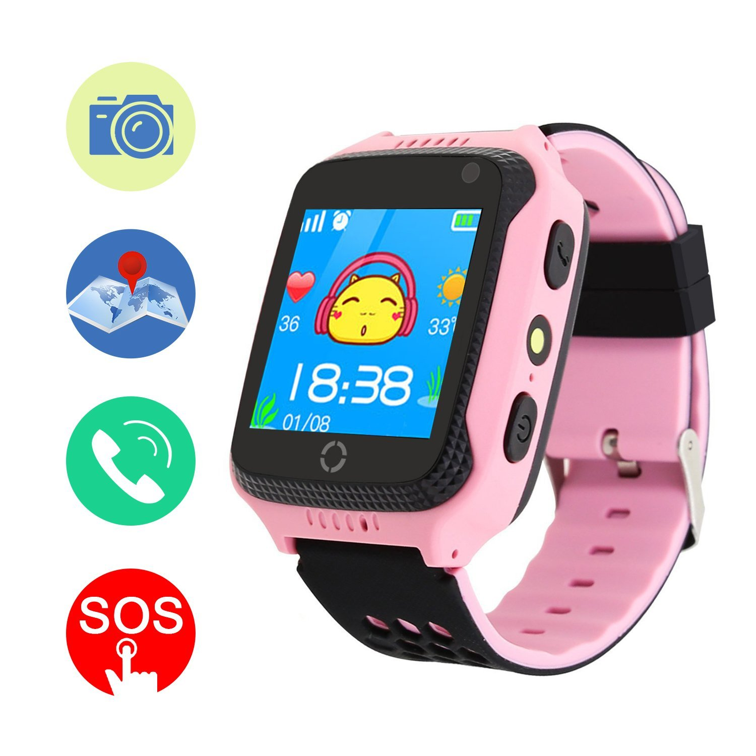 GPS Tracker Smart Watch, Mictchz Kids GPS Tracker Smart Watch with Camera SIM Calls SOS Anti-lost GPS + LBS Smart Watch for Children Boys Girls for Android iPhone Smartphone (Pink)