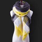 Plaid Women Blanket Oversized Wrap Shawl Cozy Checked Yellow Scarf Factory